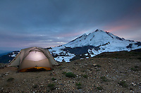 Mount Baker, 10,781 ft (3,286 m) and backcountry campsite, Mount Baker Wilderness Washington