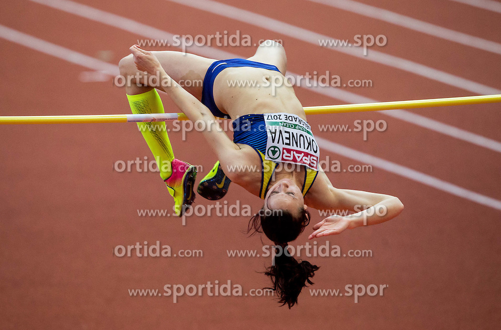 Oksana Okuneva of Ukraine competes in the High Jump Women Final on day two of the 2017 European Athletics Indoor Championships at the Kombank Arena on March 4, 2017 in Belgrade, Serbia. Photo by Vid Ponikvar / Sportida
