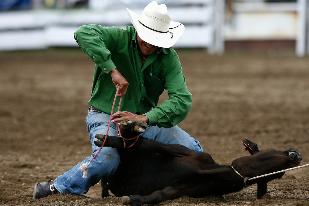 061911-Evergreen, COLORADO-evergreenrodeosun-Chase Massengill, of Santa Fe, NM, ties down a calf during the Evergreen Rodeo Sunday, June 19, 2011 at the El Pinal Rodeo Grounds..Photo By Matthew Jonas/Evergreen Newspapers/Photo Editor