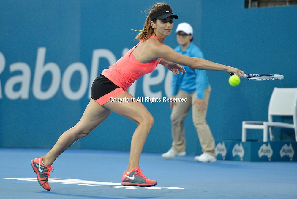 14.01.15 Sydney, Australia. Tsvetana Pironkova   (BUL) in action against Barbora Zahlavova Strycova (CZE) during her singles match at the Apia International Sydney.