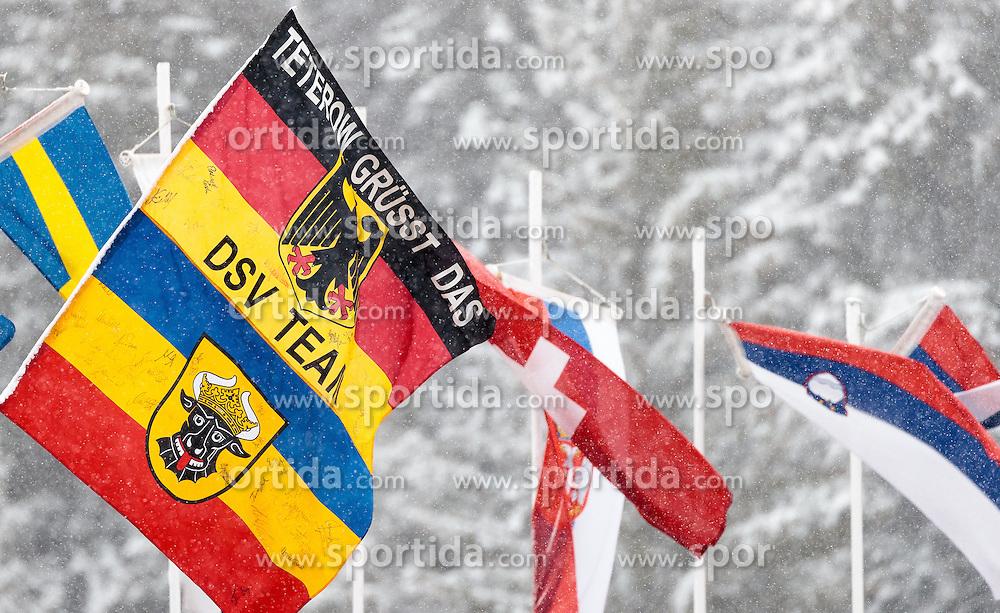 17.02.2017, Biathlonarena, Hochfilzen, AUT, IBU Weltmeisterschaften Biathlon, Hochfilzen 2017, Staffel Damen, im Bild DSV deutsche Flagge // German Flag in the Wind during Womens Relay of the IBU Biathlon World Championships at the Biathlonarena in Hochfilzen, Austria on 2017/02/17. EXPA Pictures © 2017, PhotoCredit: EXPA/ JFK