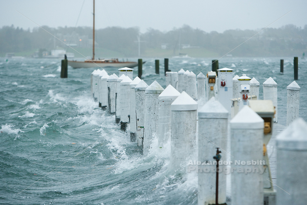 Newport, RI - Goat Island during super storm Sandy.