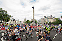 Riders on Trafalgar Square during Prudential RideLondon FreeCycle. Prudential RideLondon is the world's greatest festival of cycling, involving 95,000+ cyclists – from Olympic champions to a free family fun ride - riding in five events over closed roads in London and Surrey over the weekend of 1st and 2nd August 2015.<br /> <br /> Photo: Thomas Lovelock for Prudential RideLondon<br /> <br /> See www.PrudentialRideLondon.co.uk for more.<br /> <br /> For further information: Penny Dain 07799 170433<br /> pennyd@ridelondon.co.uk