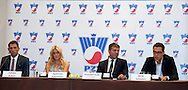 (L-R) Lukasz Kubot and Agnieszka Radwanska and Krzysztof Suski - President of Polish Tennis Association and Jerzy Janowicz during press conference of Polish Tennis Association at Hyatt Hotel in Warsaw, Poland.<br /> <br /> Poland, Warsaw, July 08, 2013<br /> <br /> Picture also available in RAW (NEF) or TIFF format on special request.<br /> <br /> For editorial use only. Any commercial or promotional use requires permission.<br /> <br /> Photo by © Adam Nurkiewicz / Mediasport