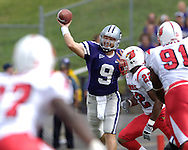 Kansas State quarterback Dylan Meier (9) throws the ball down field against pressure from Louisville in the first half at Bill Snyder Family Stadium in Manhattan, Kansas, September 23, 2006.  The 8th ranked Louisville Cardinals beat K-State 24-6.