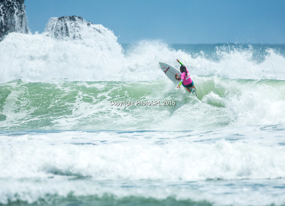Kea Smith of Mount Maunganui competing on day three of the 2015 Billabong National Surfing Championships  driven by Subaru today (Tuesday 13th January).  The National Surfing Championships run through until the 17th January at Piha Beach, Auckland and include 23 divisions for in excess of 260 entrants. Photo credit: PhotoCPL