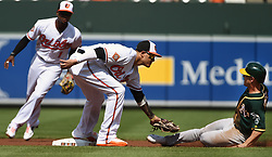 August 23, 2017 - Baltimore, MD, USA - Baltimore Orioles infielder Manny Machado, middle, tags out he Oakland Athletics' Boog Powell, right, on a stolen base attempt in the first inning at Oriole Park at Camden Yards in Baltimore on Wednesday, Aug. 23, 2017. The Orioles won, 8-7, in 12 innings. (Credit Image: © Kenneth K. Lam/TNS via ZUMA Wire)