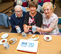Pictured: Bill Grant (90) was there on day one of the NHS, Fiona McQueen; and Janey Tulley (78) who joined the NHS in 1960 following the footsteps of her grandmother, mother and six sisters.<br /> <br /> Scotland's Chief Nursing Officer (CNO) Fiona McQueen met members of the NHS Retirement Fellowship as the 70th anniversary of the NHS approaches.<br /> <br /> Ger Harley | EEm 21 June 2018