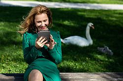 Sasa Mihelcic, slovenska gledališka, televizijska in filmska igralka, zaposlena v SNG Drama Ljubljana, v rokah drzi biblos bralnik, on June 7, 2019 in Mostec, Ljubljana, Slovenia. Photo by Vid Ponikvar / Sportida