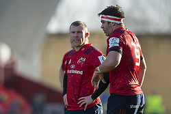 December 9, 2018 - Limerick, Ireland - Billy Holland and Keith Earls of Munster during the Heineken Champions Cup Round 3 match between Munster Rugby and Castres Qlympique at Thomond Park Stadium in Limerick, Ireland on December 9, 2018  (Credit Image: © Andrew Surma/NurPhoto via ZUMA Press)
