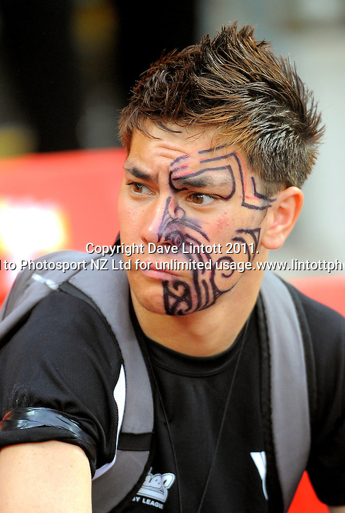 A facepainted (markered?) fan. IRB Wellington Sevens - Day One at Westpac Stadium, Wellington, New Zealand on Friday, 4 February 2011. Photo: Dave Lintott / photosport.co.nz