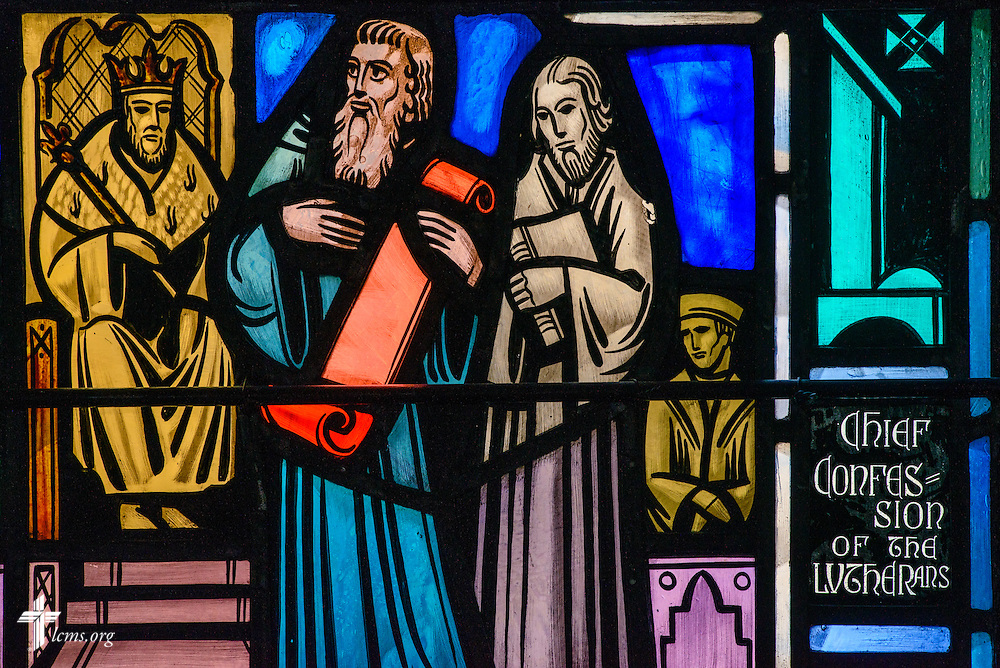 Stained glass at Luther Memorial Chapel depicts the Augsburg Confession in 1530 on Friday, Jan. 29, 2016, in Shorewood, Wis. LCMS Communications/Erik M. Lunsford