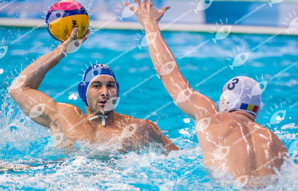 LEN European Water Polo Championships 2016<br /> Romania ROU (White) Vs Italy ITA (Blue)<br /> Men<br /> 4 FIGLIOLI Pietro ITA<br /> 3 NEGREAN Tiberiu ROU<br /> Kombank Arena, Belgrade, Serbia <br /> Day04  13-01-2016<br /> Photo P. Mesiano/Insidefoto/Deepbluemedia