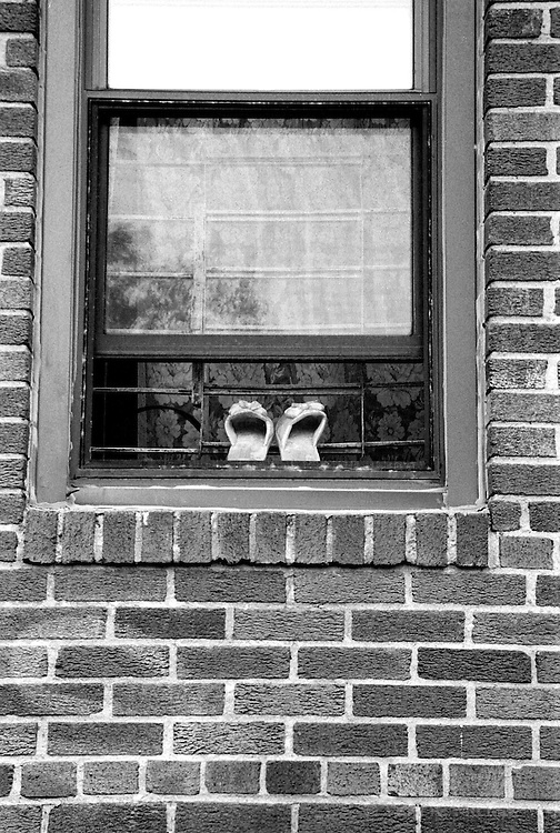 Slippers in a window, Brooklyn, New York, NY