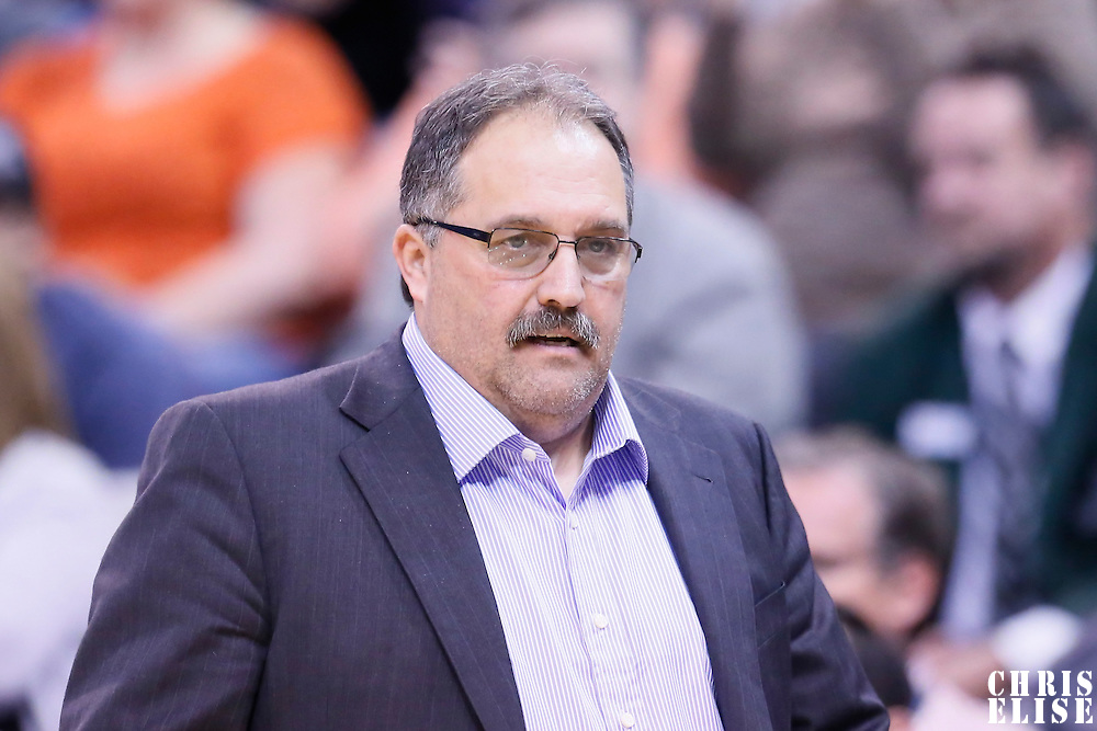 25 January 2016: Detroit Pistons head coach Stan Van Gundy is seen during the Detroit Pistons 95-92 victory over the Utah Jazz, at the Vivint Smart Home Arena, Salt Lake City, Utah, USA.