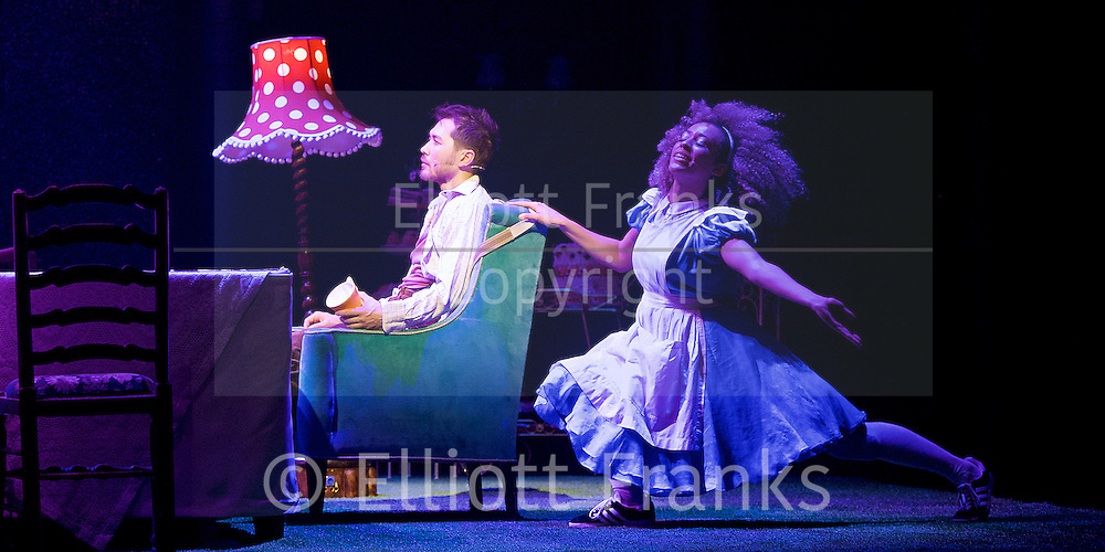 The Mad Hatter&rsquo;s Tea Party <br /> by Zoo Nation<br /> directed by Kate Prince<br /> presented by Zoo Nation, The Roundhouse &amp; The Royal Opera House<br /> at The Roundhouse, London, Great Britain <br /> rehearsal <br /> 29th December 2016 <br /> <br /> Tommy Franzen as Ernest <br /> <br /> <br /> Kayla Lomas-Kirton as Alice <br /> <br /> <br /> Photograph by Elliott Franks <br /> Image licensed to Elliott Franks Photography Services