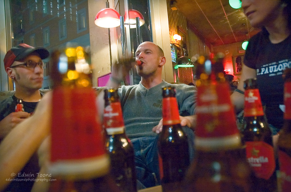 After a week of work or after an Alley Cat the messengers and friends get together for a beer or two at a local bar.