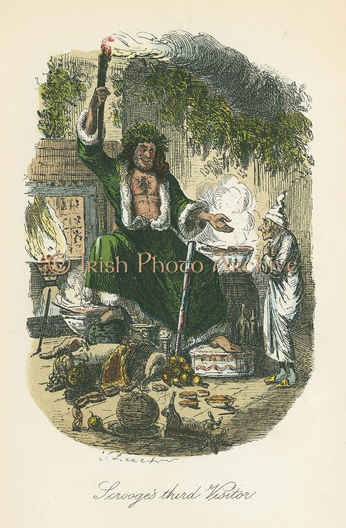 The Ghost of Christmas Present appearing to Scrooge. Illustration by John Leech (1817-64) for Charles Dickens 'A Christmas Carol', London 1843-1834.