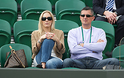 LONDON, ENGLAND - Tuesday, June 21, 2011: Nicole Vaidisova (CZE) watches her husband Radek Stepanek (CZE) with his cousin and manager Tomas Krcma during the Gentlemen's Singles 1st Round match on day two of the Wimbledon Lawn Tennis Championships at the All England Lawn Tennis and Croquet Club. (Pic by David Rawcliffe/Propaganda)