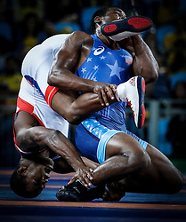 in the men's Freestyle kg quarterfinal match of the Rio 2016 Olympic Games Wrestling events at the Carioca Arena 2 in the Olympic Park in Rio de Janeiro, Brazil, 20 August 2016.