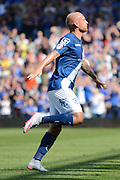 David Cotterill celebrates scoring first goal during the Sky Bet Championship match between Birmingham City and Reading at St Andrews, Birmingham, England on 8 August 2015. Photo by Alan Franklin.