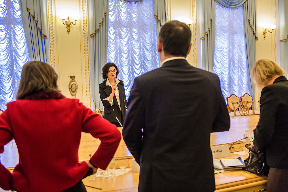 KIEV, UKRAINE - MARCH 4, 2016: Oksana Syroyid, second from left, deputy speaker of the Ukrainian parliament, conducts a meeting with ambassadors from the Council of Europe in Kiev, Ukraine. Syroyid is one of parliament's main opponents of the constitutional reforms called for in the Minsk agreement intended to resolve fighting in eastern Ukraine. CREDIT: Brendan Hoffman for The New York Times