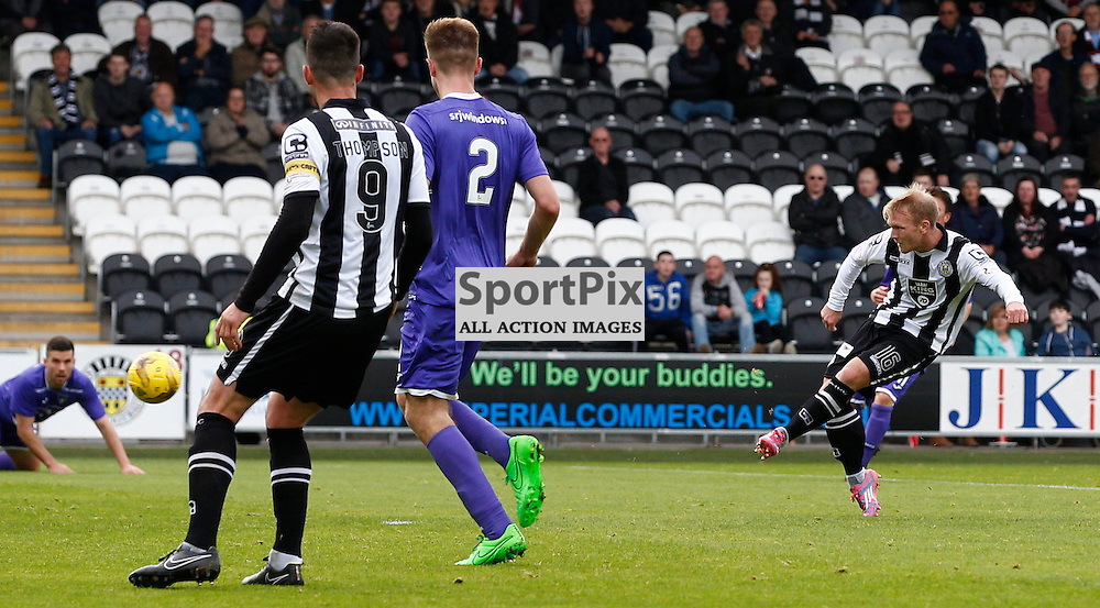 St.Mirren v Dunfermline Athletic, PETROFAC TRAINING CUP 1/4 Final 10th October 2015....Scott Agnew scores St.Mirren third goal...(c) STEPHEN LAWSON | SportPix.org.uk