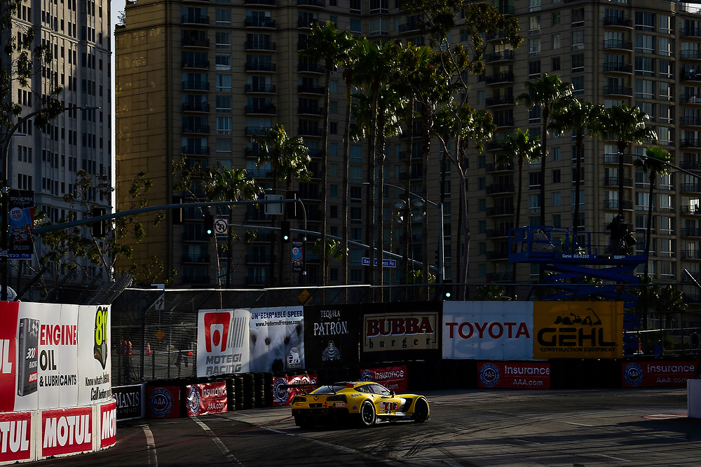 #4 Corvette Racing Chevrolet Corvette C7.R, GTLM: Oliver Gavin, Tommy Milner<br /> Friday 13 April 2018<br /> BUBBA burger Sports Car Grand Prix at Long Beach<br /> Verizon IndyCar Series<br /> Streets of Long Beach CA USA<br /> World Copyright: Scott R LePage<br /> LAT Images