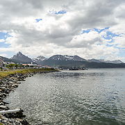 Looking west from Puerto de Ushuaia towards the mountains of Tierra del Fuego, Argentina.
