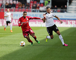 24.04.2016, Hardtwald, Sandhausen, GER, 2. FBL, SV 1916 Sandhausen vs FSV Frankfurt, 31. Runde, im Bild Shawn Maurice Barry (FSV Frankfurt) im Zweikampf mit Aziz Bouhaddouz (SV Sandhausen) // during the 2nd German Bundesliga 31th round match between SV 1916 Sandhausen vs FSV Frankfurt at the Hardtwald in Sandhausen, Germany on 2016/04/24. EXPA Pictures &copy; 2016, PhotoCredit: EXPA/ Eibner-Pressefoto/ Bermel<br /> <br /> *****ATTENTION - OUT of GER*****