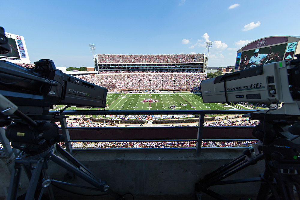 STARKVILLE, MS - SEPTEMBER 19:  Camera deck view of the stadium during a game between the Mississippi State Bulldogs and the Northwestern State Demons at Davis Wade Stadium on September 19, 2015 in Starkville, Mississippi.  The Bulldogs defeated the Demons 62-13.  (Photo by Wesley Hitt/Getty Images) *** Local Caption ***
