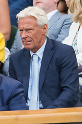 © Licensed to London News Pictures. 12/07/2018. London, UK. Bjorn Borg watches the women's semi-finals round singles draw of the Wimbledon Tennis Championships 2018, at the All England Lawn Tennis and Croquet Club. Photo credit: Ray Tang/LNP