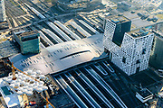 Nederland, Utrecht, Utrecht, 07-02-2018; Utrecht Centraal het grootste spoorwegknooppunt van Nederland. Nieuwe overkapping.<br /> Utrecht Central Station, the largest railway junction in the Netherlands.<br /> luchtfoto (toeslag op standard tarieven);<br /> aerial photo (additional fee required);<br /> copyright foto/photo Siebe Swart