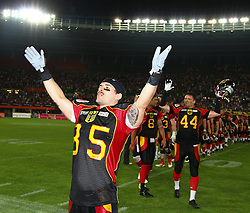07.06.2014, Ernst Happel Stadion, Wien, AUT, American Football Europameisterschaft 2014, Finale, Oesterreich (AUT) vs Deutschland (GER), im Bild Jubel von Dominic Hanselmann, (Team Germany, WR, #85) nach dem Sieg // during the American Football European Championship 2014 final game between Austria and Denmark at the Ernst Happel Stadion, Vienna, Austria on 2014/06/07. EXPA Pictures © 2014, PhotoCredit: EXPA/ Thomas Haumer