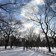 Central Park is seen covered with snow in New York on Thursday, Jan. 23, 2014. A recent snow storm created by a polar vortex, dumped almost a foot of snow in some areas of New York City, followed by bitter cold. The NFL plans on featuring the Super Bowl at MetLife stadium in New Jersey on February 3rd amid growing concerns about more snow and bitter cold arriving just prior to the game.  (AP Photo/Alex Menendez)