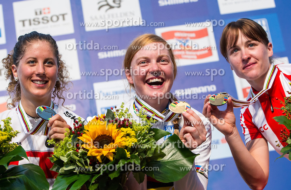 09.09.2012, Innenstadt, Saalfelden, AUT, UCI, Mountainbike und Trial Weltmeisterschaften, Cross-country Eliminator Frauen, im Bild Podium Silbermedailllen Gewinnerin Jolanda Neff (SUI), Goldmedaillen Gewinnerin Alexandra Engen (SWE) und Bronzemedaillen Gewinnerin Aleksandra Dawidowicz (POL) // during UCI Mountainbike and Trial World Championships, Cross-country Eliminator Womens at the Center of Saalfelden, Austria on 2012/09/09. EXPA Pictures © 2012, PhotoCredit: EXPA/ Juergen Feichter