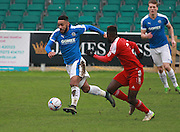 Dover striker Stefan Payne during the FA Trophy match between Whitehawk FC and Dover Athletic at the Enclosed Ground, Whitehawk, United Kingdom on 12 December 2015. Photo by Bennett Dean.