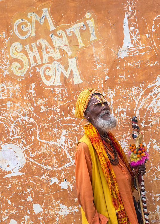 A hindu sadhu (holy man) at the temple complex of Pashupatinath, near Kathmandu, Nepal.