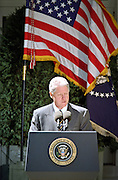 US President Bill Clinton makes a statement on the crisis in Kosovo in the Rose Garden of the White House April 13, 1999 in Washington, DC. Clinton stated that the NATO bombing would cease when Yugoslavia withdraws their troops from Kosovo and allows the return of refugees.