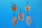 Chumsa amulets and souvenirs on blue background