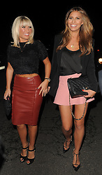 The Only Way Is Essex stars Jessica Wright, Sam Faiers, Bobby Cole Norris, Billie Faiers, Ferne McCann and Lucy Mecklenburgh enjoy a night out at Alec's restaurant in Brentwood, Essex, UK. 04/10/2013<br />