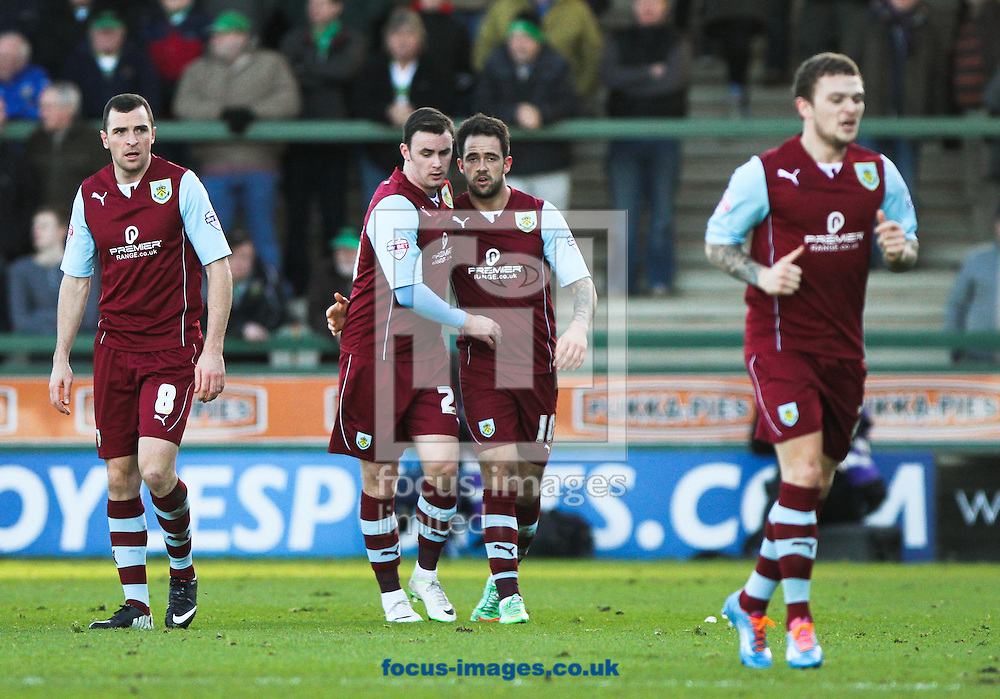 Picture by Tom Smith/Focus Images Ltd 07545141164<br /> 11/01/2014<br /> Danny Ings (centre right) of Burnley celebrates scoring his sides first goal with his team mates during the Sky Bet Championship match at Huish Park, Yeovil.