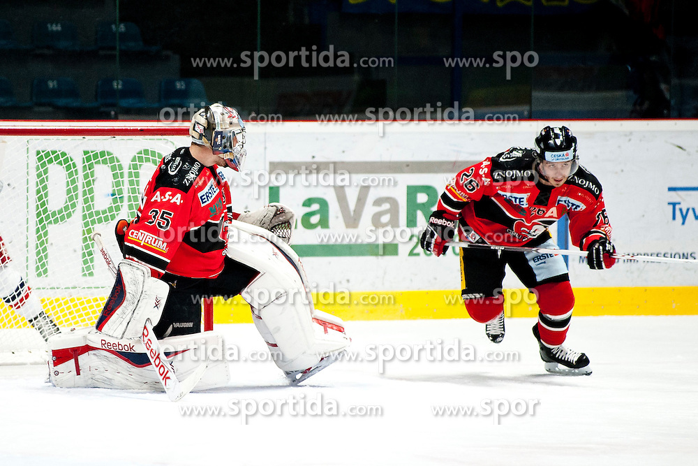 13.02.2015, Ice Rink, Znojmo, CZE, EBEL, HC Orli Znojmo vs EC Red Bull Salzburg, Platzierungsrunde, im Bild v.l. Chris Nolt ( HC Orli Znojmo) Lubomir Stach (HC Orli Znojmo) // during the Erste Bank Icehockey League placement round match between HC Orli Znojmo and EC Red Bull Salzburg at the Ice Rink in Znojmo, Czech Republic on 2015/02/13. EXPA Pictures © 2015, PhotoCredit: EXPA/ Rostislav Pfeffer