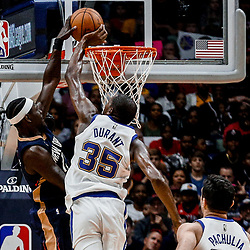 Oct 20, 2017; New Orleans, LA, USA; Golden State Warriors forward Kevin Durant (35) blocks attempted dunk by New Orleans Pelicans guard Jrue Holiday (11) during the second quarter of a game at the Smoothie King Center. Mandatory Credit: Derick E. Hingle-USA TODAY Sports
