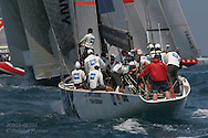 Germany's United Internet team joins pack of America's Cup yachts battling for position at start of fleet race; Valencia, Spain.