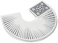 Fanned playing cards on white background