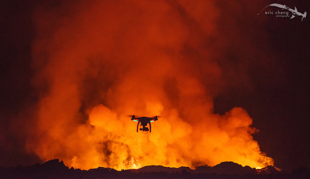 A DJI Phantom 2 flying near the Holuhraun volcano eruption, Bardarbunga volcanic system, Iceland.