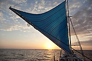 Indonesia , traditional boat  sailing on the sea