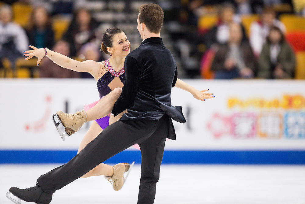 Natalia Kaliszek and Maksim Spodirev of Poland skate during the Ice Dance short dance at the ISU World Figure Skating Championships at TD Garden in Boston, Massachusetts, March 30, 2016.