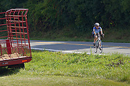Goshen, New York - A riders heads down Maple Avenue during the Tour de Goshen charity bicycle ride on Aug. 16, 2014.